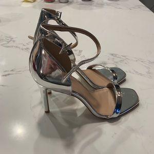 BCBGeneration Silver Stiletto Strappy Sandals